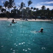 Jeg ror tilbake mens de andre svømmer, snorkler og padler
